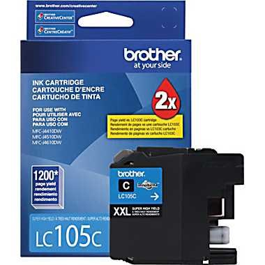 LC105C Ink Cartridge - Brother Genuine OEM (Cyan)