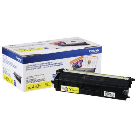 TN433Y Toner Cartridge - Brother Genuine OEM (Yellow)