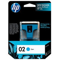 HP 02 Cyan Ink Cartridge - HP Genuine OEM (Cyan)