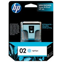 HP 02 Light Cyan Ink Cartridge - HP Genuine OEM (Light Cyan)