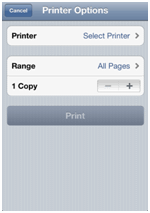 Apple iPhone AirPrint settings