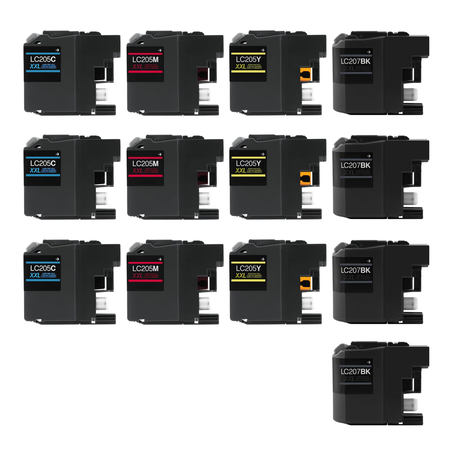 Compatible Brother LC205-LC207 Inkjet Extra High Capacity Pack - 13 Cartridges