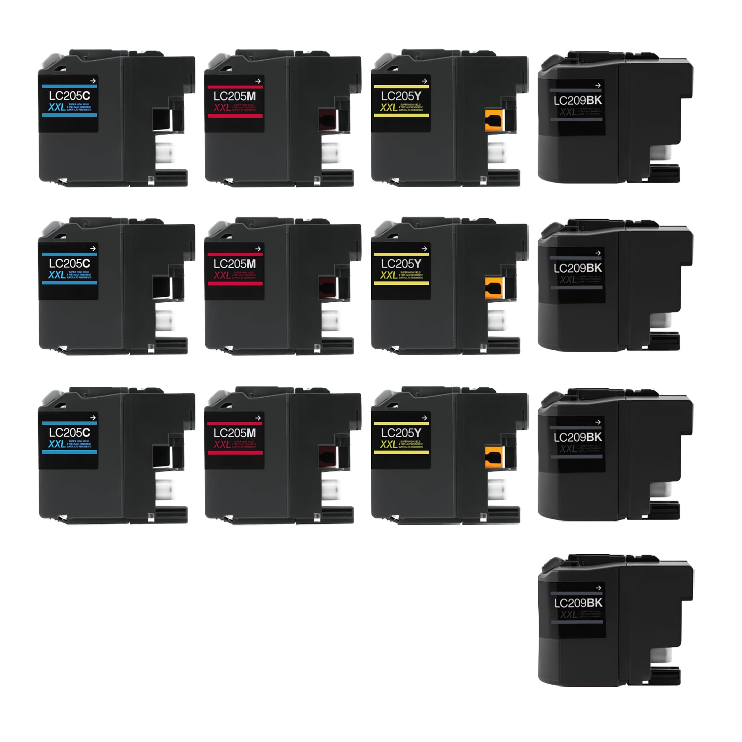 Compatible Brother LC205-LC209 Inkjet Extra High Capacity Pack - 13 Cartridges