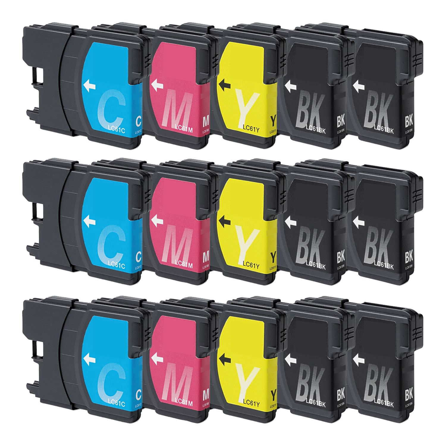Compatible Brother LC61 Inkjet Pack - 15 Cartridges
