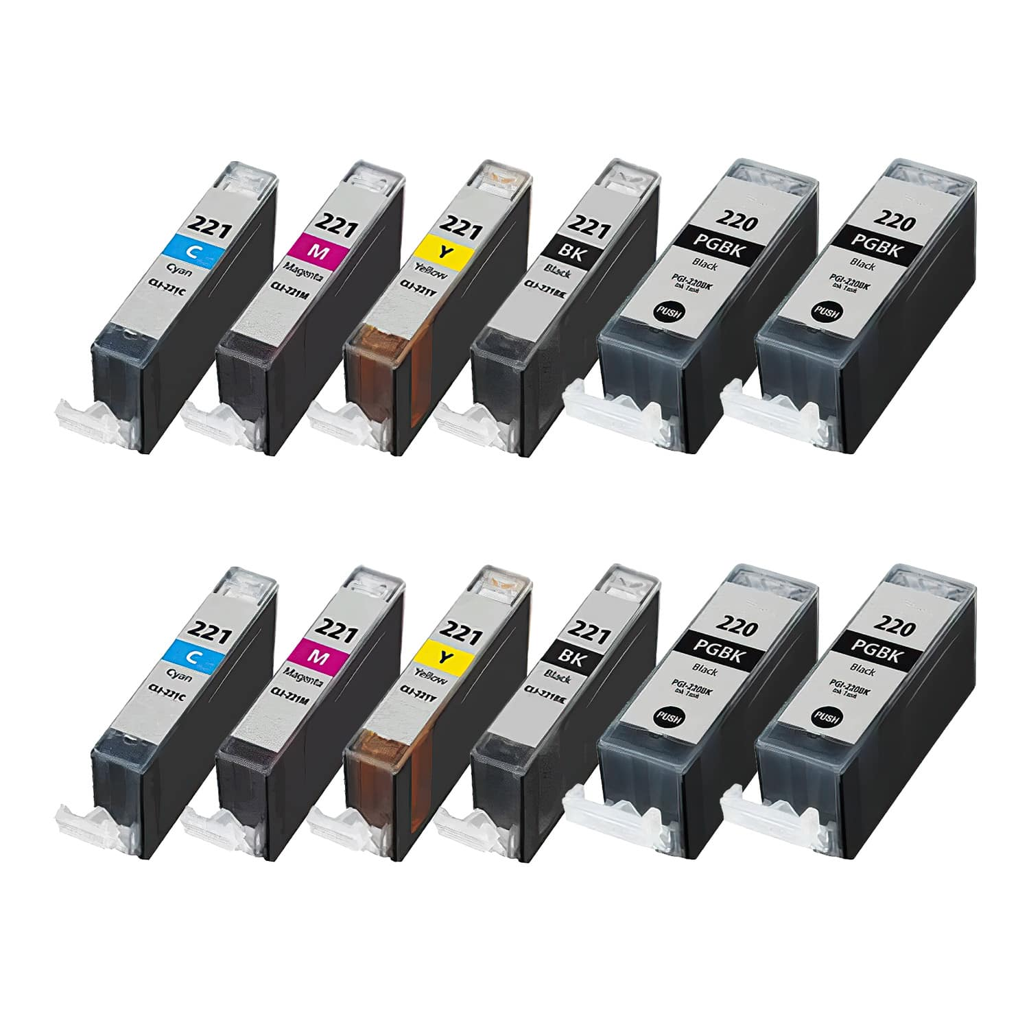 Compatible Canon CLI-221-PGI-220 Inkjet Pack - 12 Cartridges