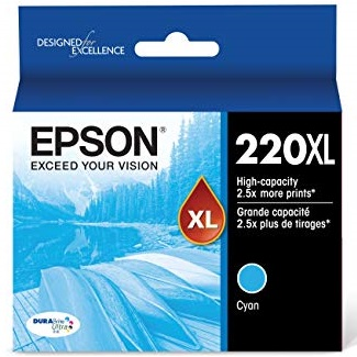 T220XL220 Ink Cartridge - Epson Genuine OEM (Cyan)