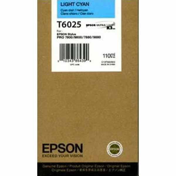 Genuine Epson T602500 Light Cyan Ink Cartridge