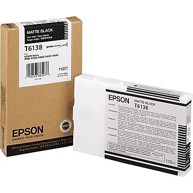 T613800 Ink Cartridge - Epson Genuine OEM (Matte Black)