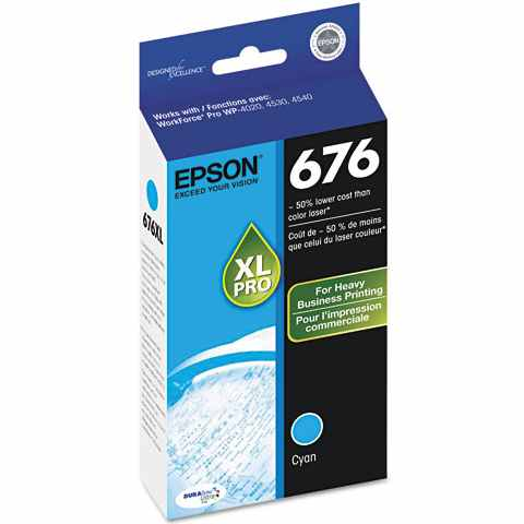 T676XL220 Ink Cartridge - Epson Genuine OEM (Cyan)