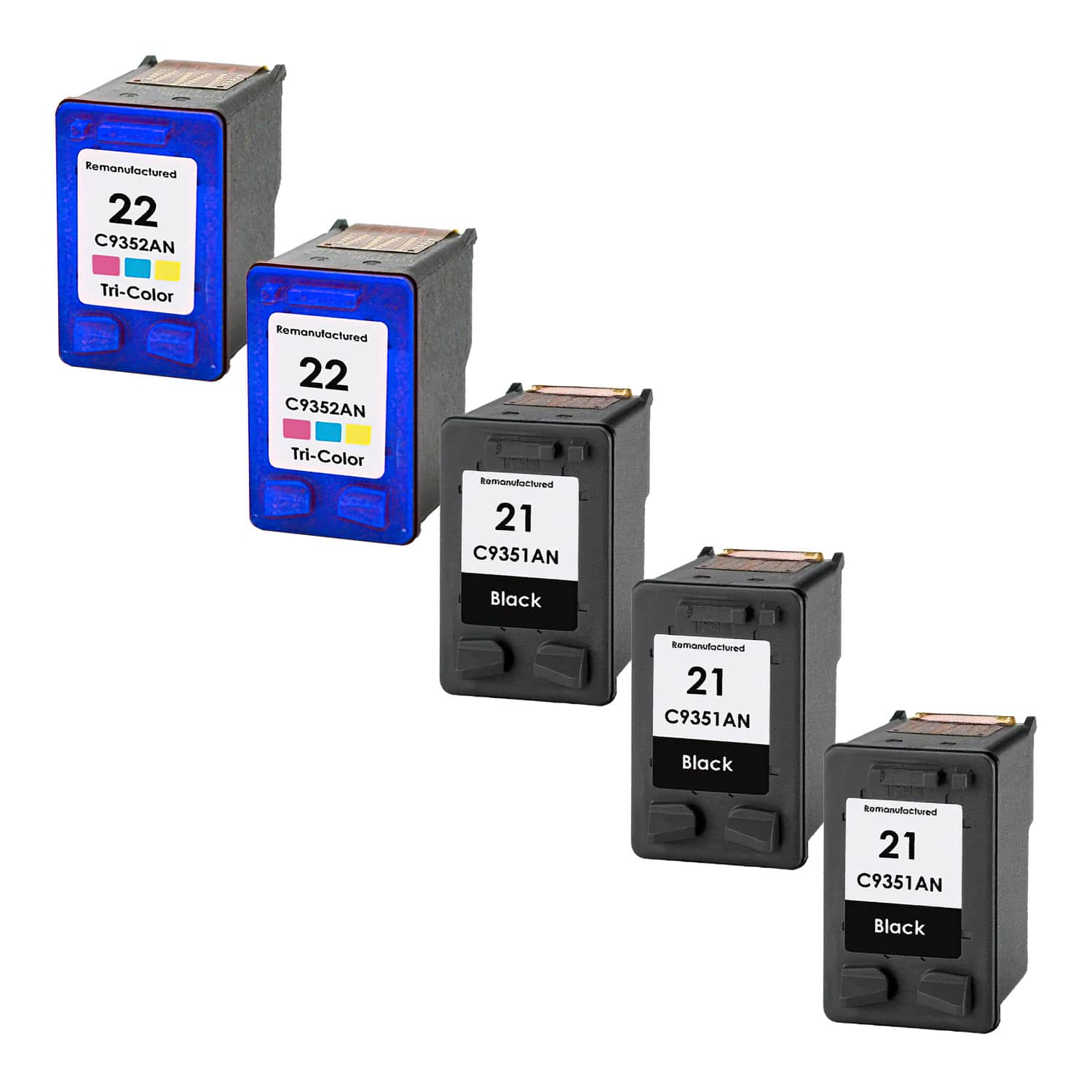 Remanufactured HP 22-21 Inkjet Pack - 5 Cartridges