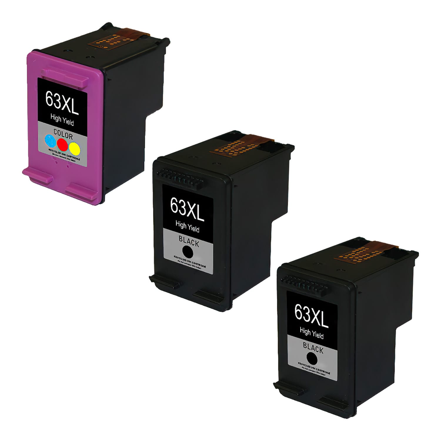 Remanufactured HP 63XL Inkjet High Capacity Pack - 3 Cartridges