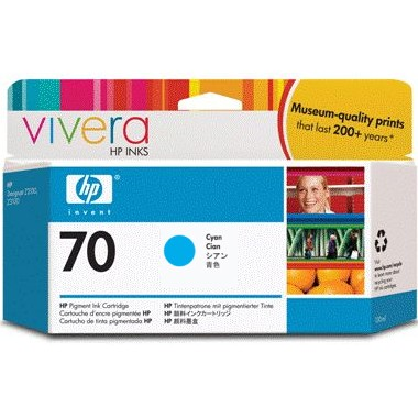 HP 70 Cyan Ink Cartridge - HP Genuine OEM (Cyan)