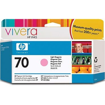 HP 70 Light Magenta Ink Cartridge - HP Genuine OEM (Light Magenta)