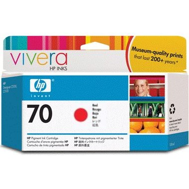 HP 70 Red Ink Cartridge - HP Genuine OEM (Red)
