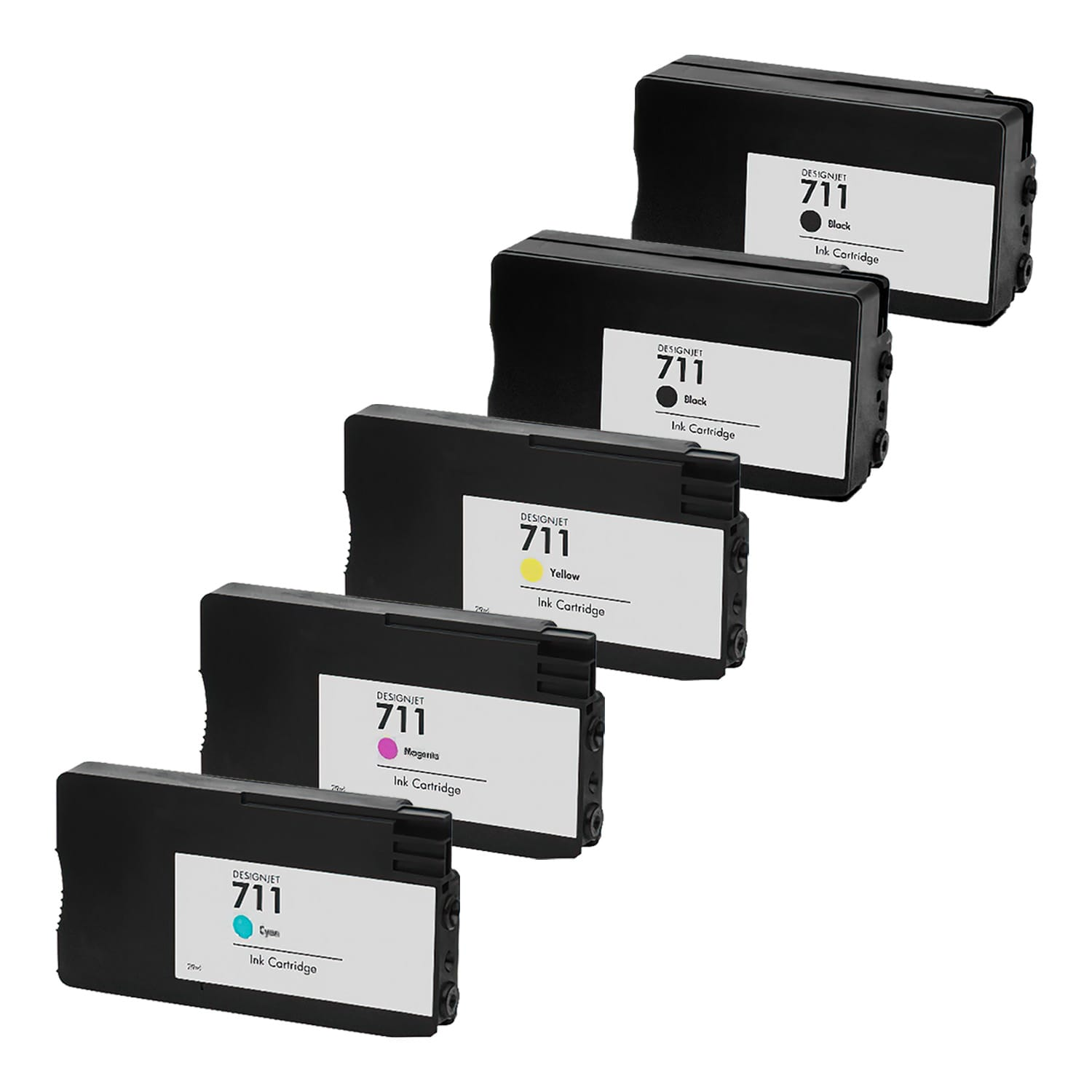 Remanufactured HP 711 Inkjet Pack - 5 Cartridges