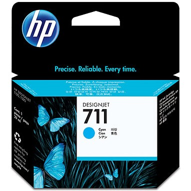 HP 711 Cyan Ink Cartridge - HP Genuine OEM (Cyan)