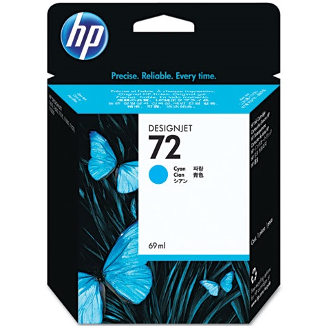 HP 72 Cyan Ink Cartridge - HP Genuine OEM (Cyan)
