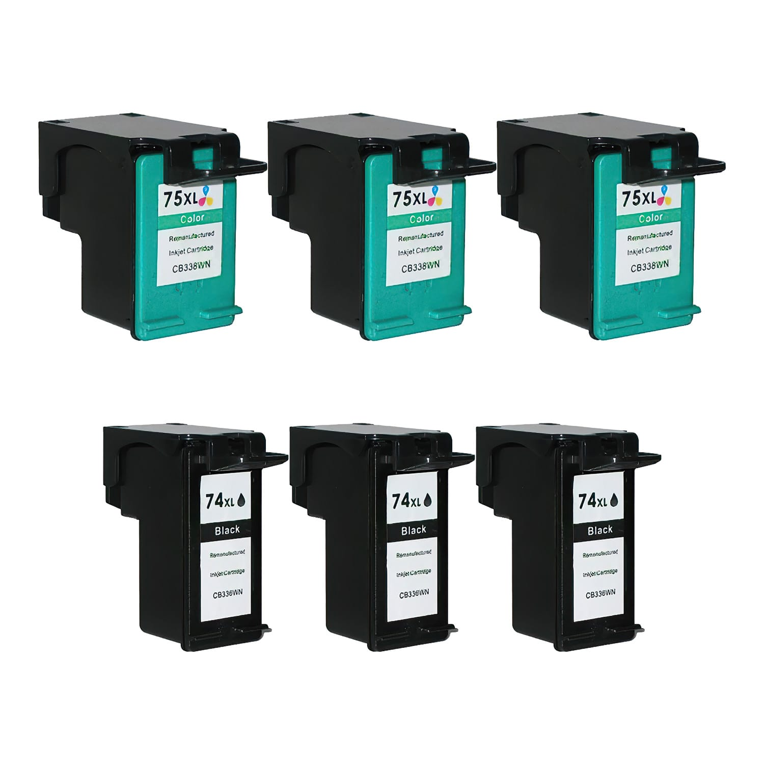 Remanufactured HP 75XL-74XL Inkjet High Capacity Pack - 6 Cartridges