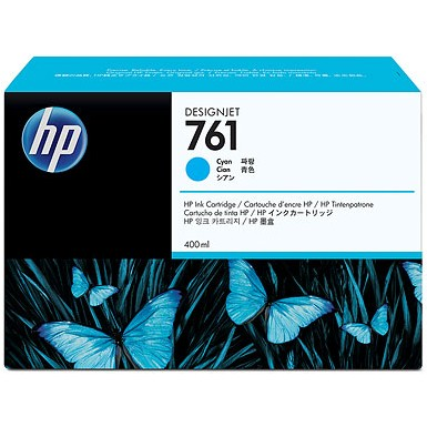 HP 761 Cyan Ink Cartridge - HP Genuine OEM (Cyan)