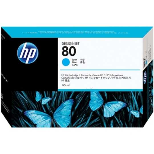 HP 80 Cyan Ink Cartridge - HP Genuine OEM (Cyan)