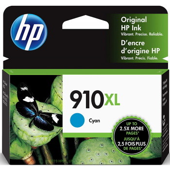 HP 910XL Cyan Ink Cartridge - HP Genuine OEM (Cyan)