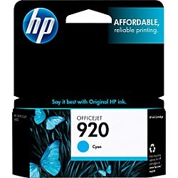 HP 920 Cyan Ink Cartridge - HP Genuine OEM (Cyan)