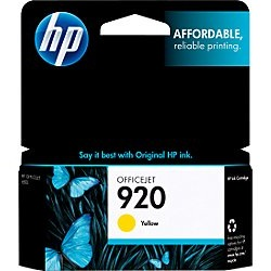 HP 920 Yellow Ink Cartridge - HP Genuine OEM (Yellow)