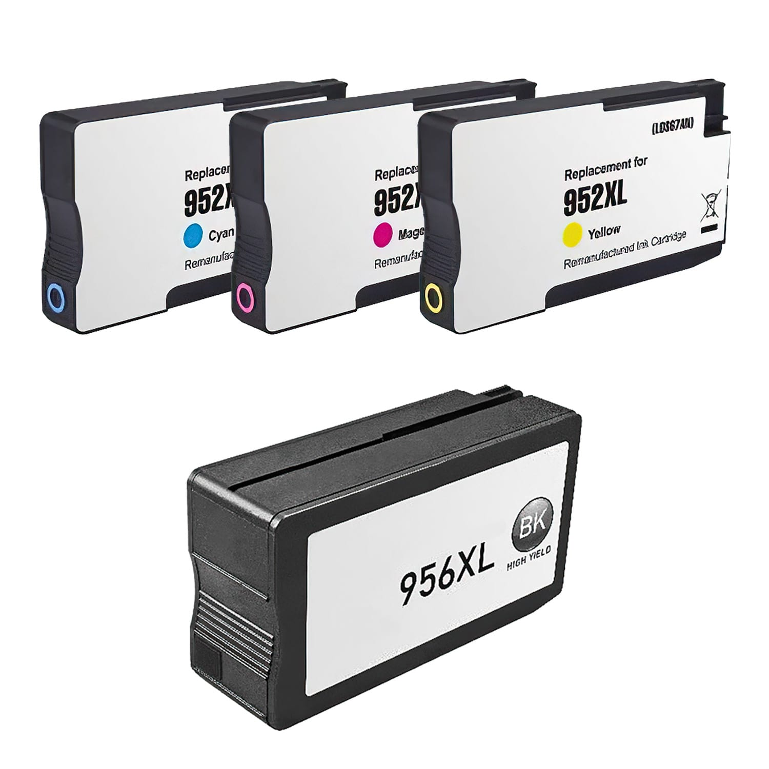 Remanufactured HP 952XL-956XL Inkjet High Capacity Pack - 4 Cartridges